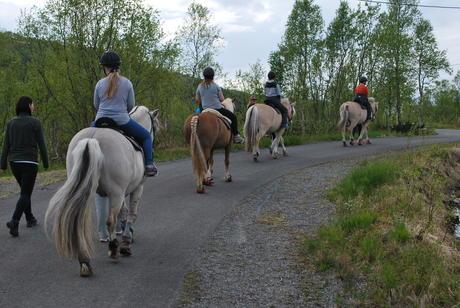 Bilde av ryttere på rad og rekke
