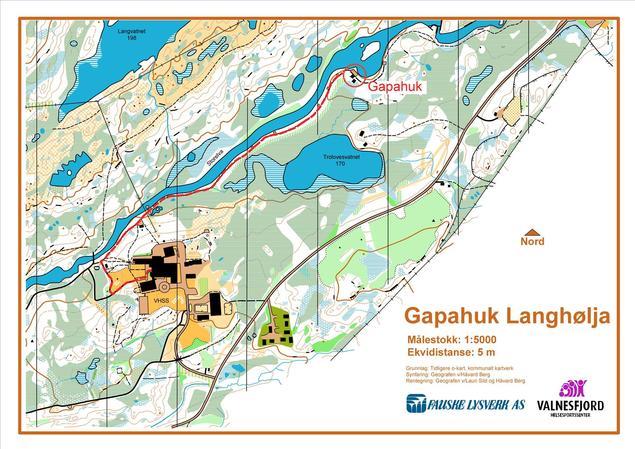 Kart over veien fra VHSS til Langhølja