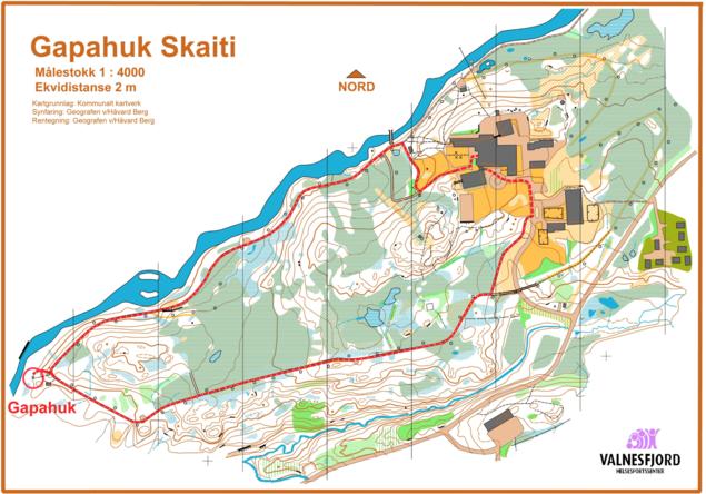 Kart over sti/rundløype VHSS-Skaiti