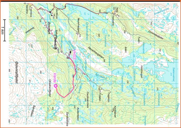 Kart over stien til Oksskardfjellet fra VHSS