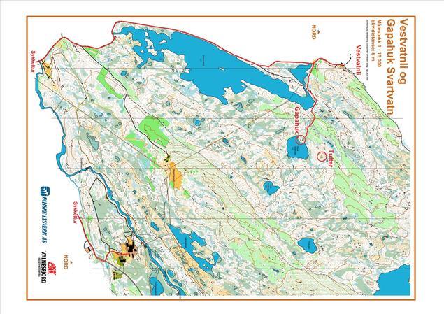 Kart over veien til Vestvatnli og gapahuken ved Svartvatnet