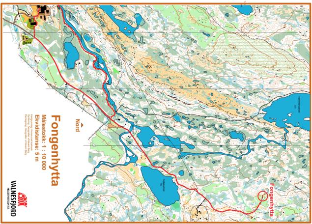 Kart over veien til Fongenhytta fra VHSS