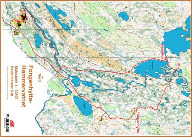 Kart over rundtur VHSS - Hømmervatnet via Fongenhytta