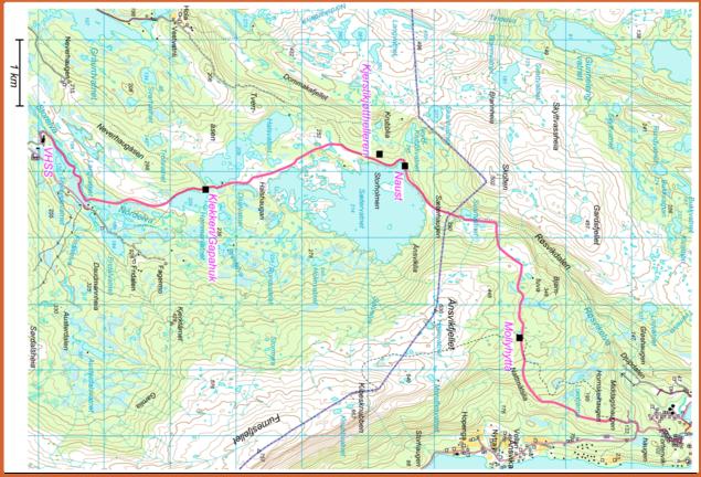 Kart over stien VHSS-Røsvik