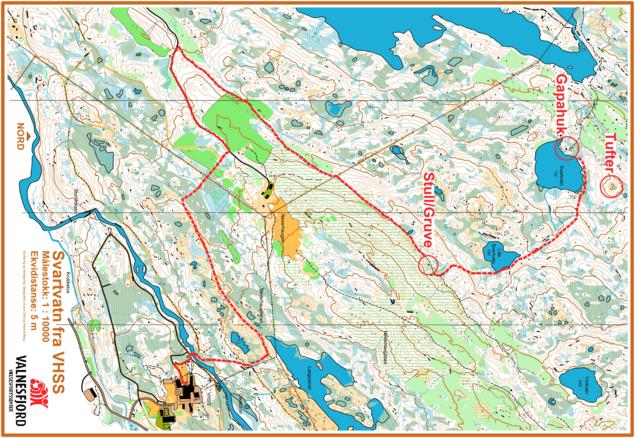 Kart over sti fra VHSS til Svartvatnet