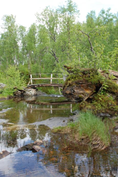 Bru ved overgangen mellom Hømmervatnet og Halsvatnet