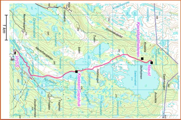 Kart over sti langs vestsiden av Sætervatnet