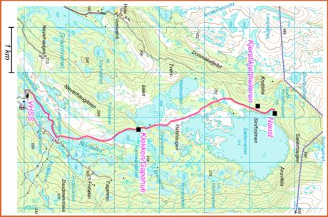 Kart Sætervatnet, vestsiden
