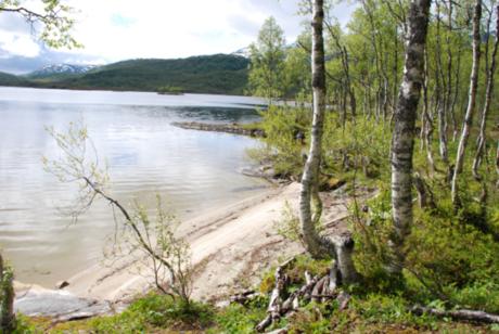 En liten sandstrand på østsiden av vatnet