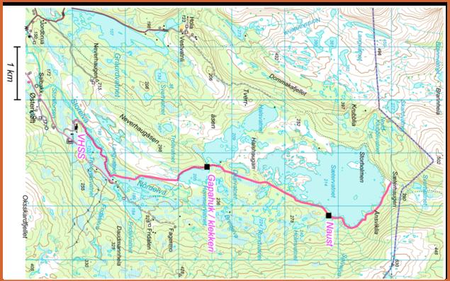 Kart over stien langst østsiden av Sætervatnet