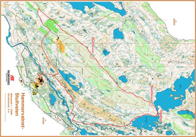 Kart over stullveien og ei rundløype via Hømmervatnet tilbake til VHSS